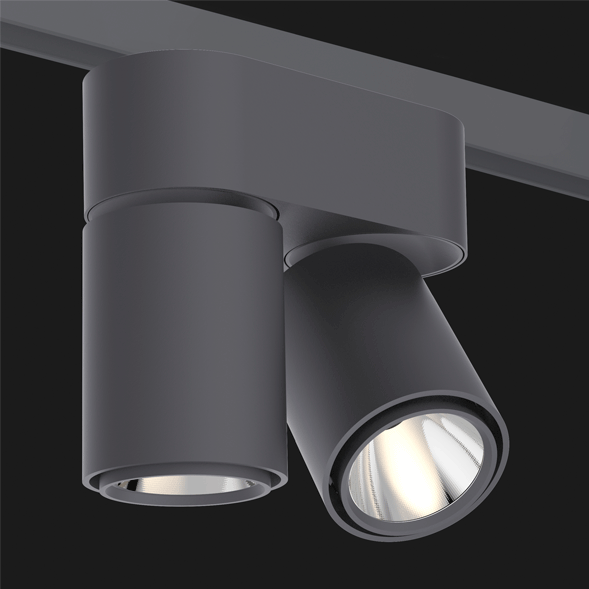 A double anthracite chrome track lights with a black background.