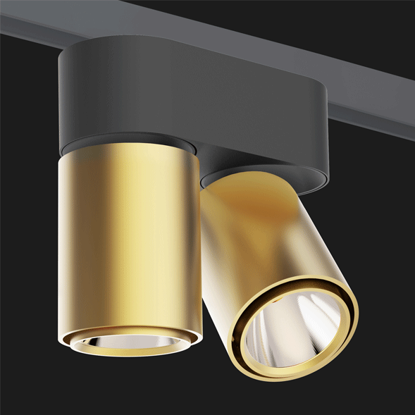 A double gold and black chrome track lights with a black background.