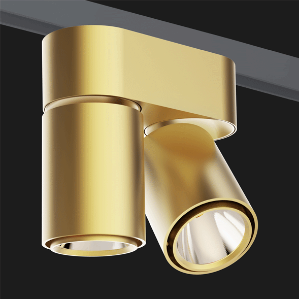A double gold chrome track lights with a black background.