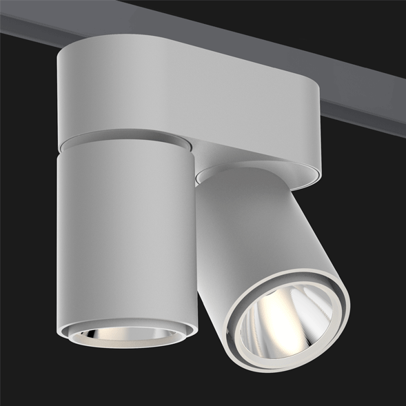 A double grey chrome track lights with a black background.