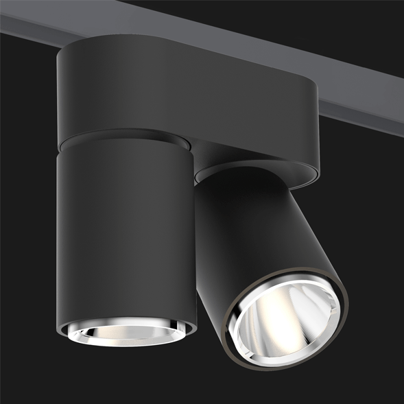 A double black chrome track lights with a black background.