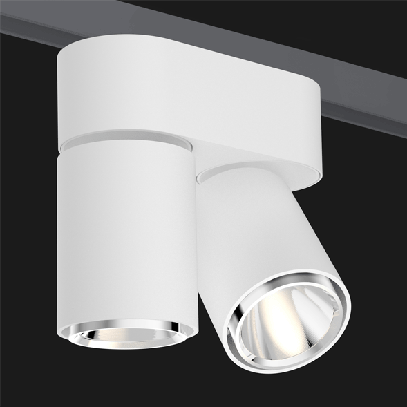 A double white chrome track lights with a black background.