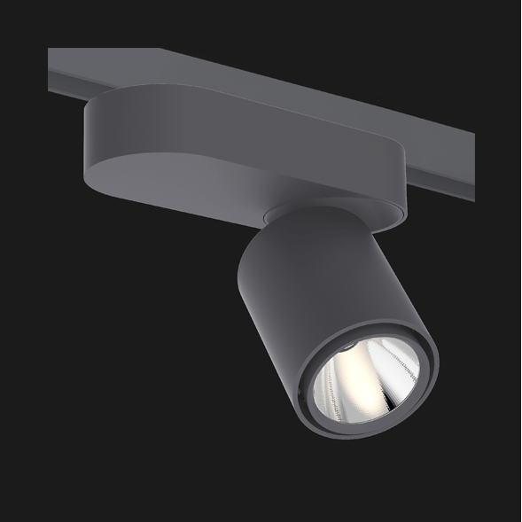 Anthracite single track lights with a black background.