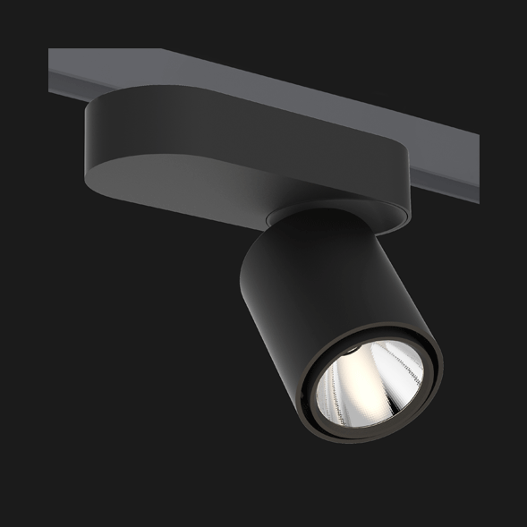 A black single track lights with a black background.
