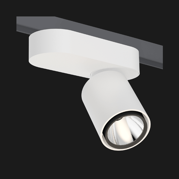 A black and white single track lights with a black background.