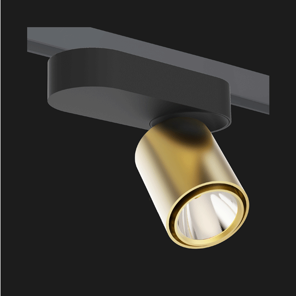 A black and gold single track lights with a black background.