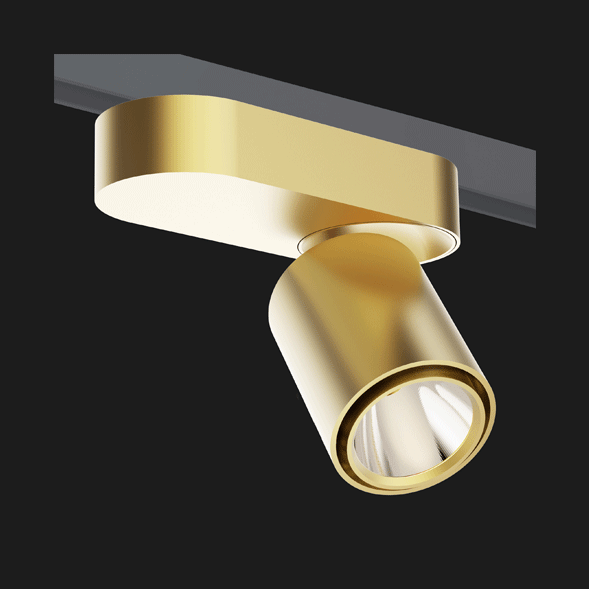 A gold single track lights with a black background.