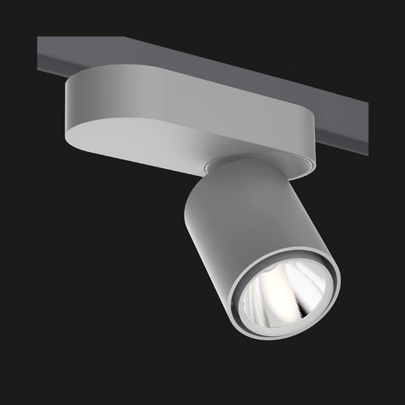 A grey single track lights with a black background.
