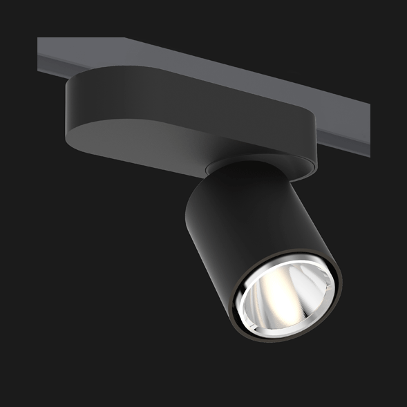 A black chrome single track lights with a black background.