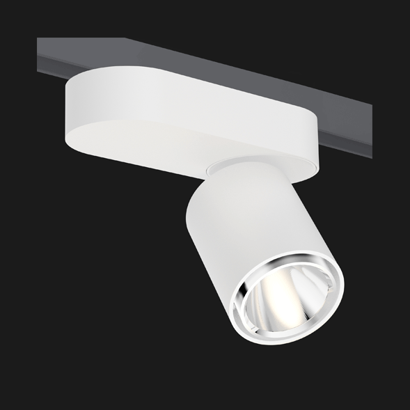 A white single track lights with a black background.