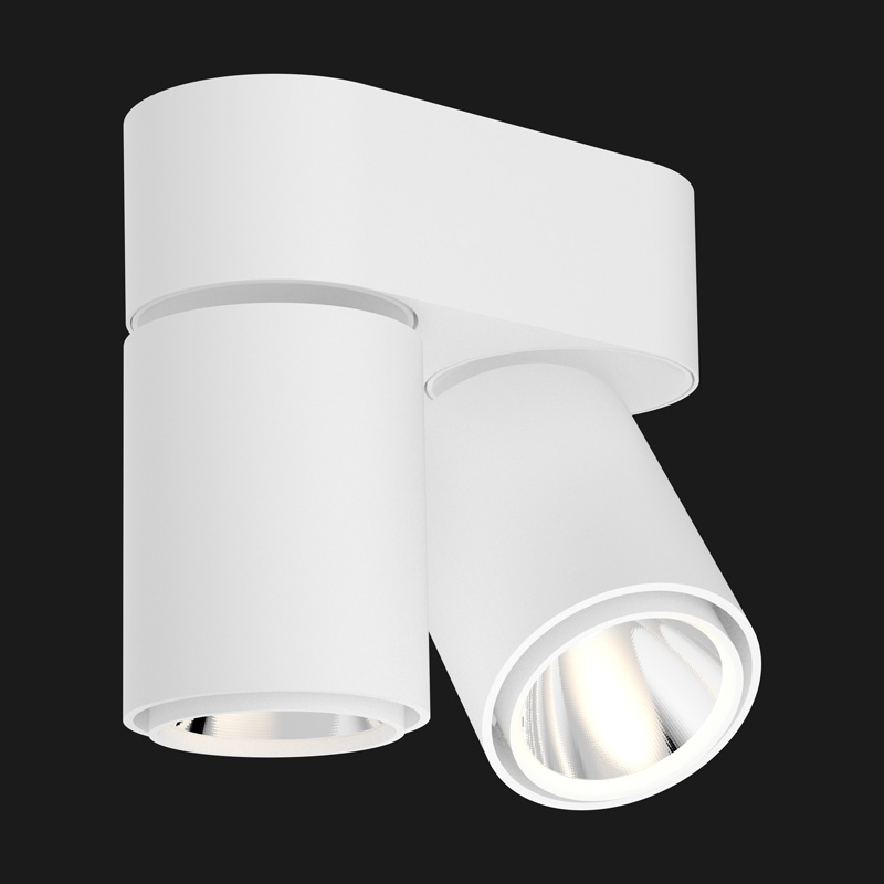 White base double ceiling light on a black background