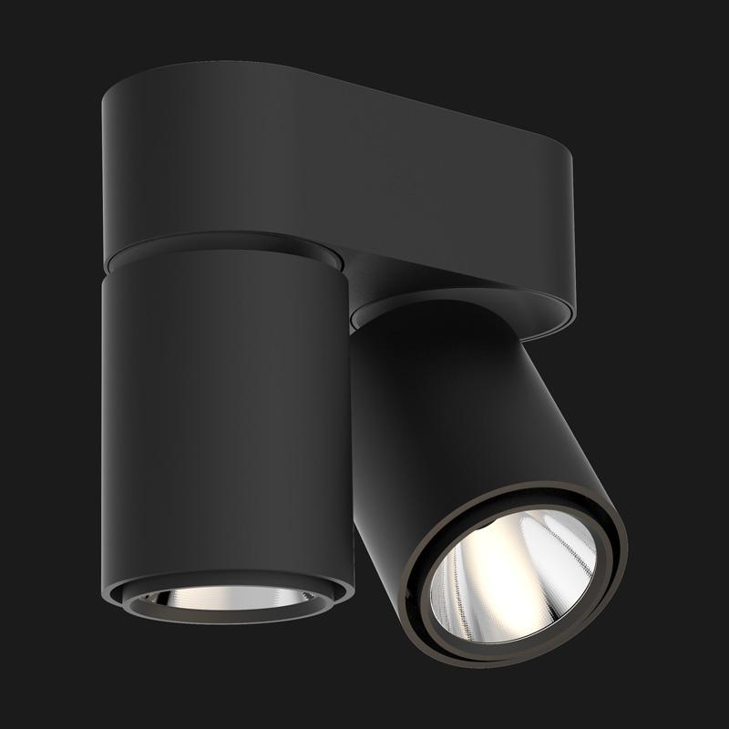 Black base double ceiling light on a black background