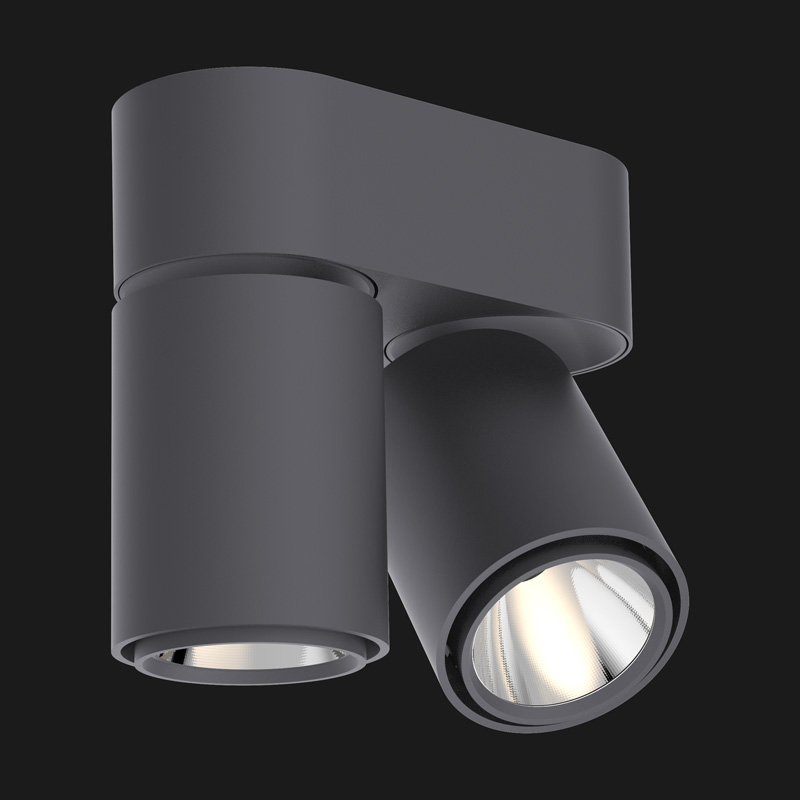 Anthracite base double ceiling light on a black background