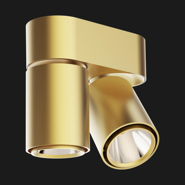Gold base double ceiling light on a black background