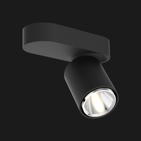 Black chrome base organic ceiling light on a black background