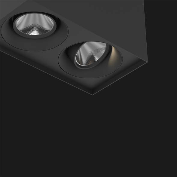 A black suspended box pendant light on a black background.