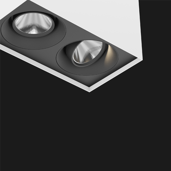 A black and white suspended box pendant light on a black background.