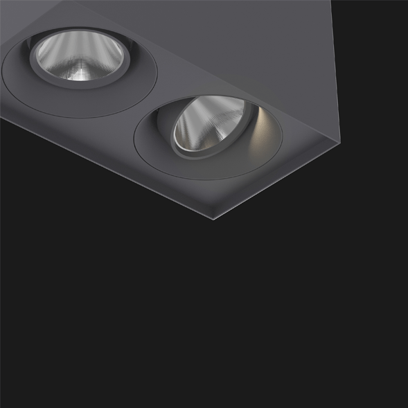 A anthracite suspended box pendant light on a black background.