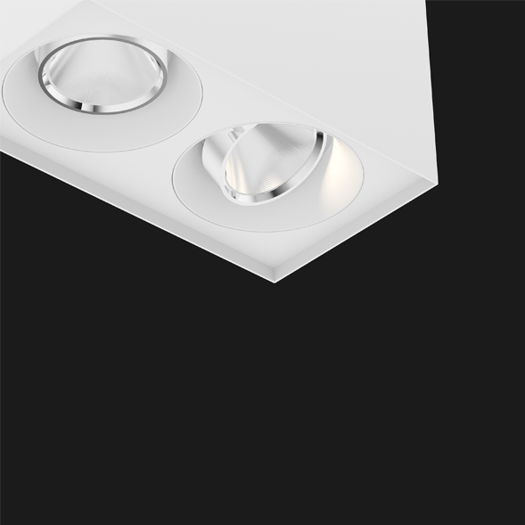 White Chrome surface mounted ceiling light on a black background