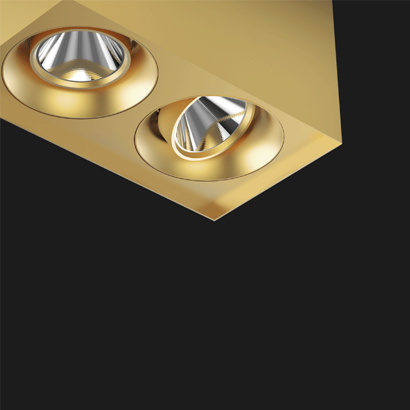A gold suspended box pendant light on a black background.