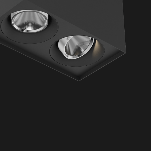 Black chrome Box surface mounted ceiling light on a black background