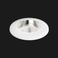 A white fix round led downlight with black background