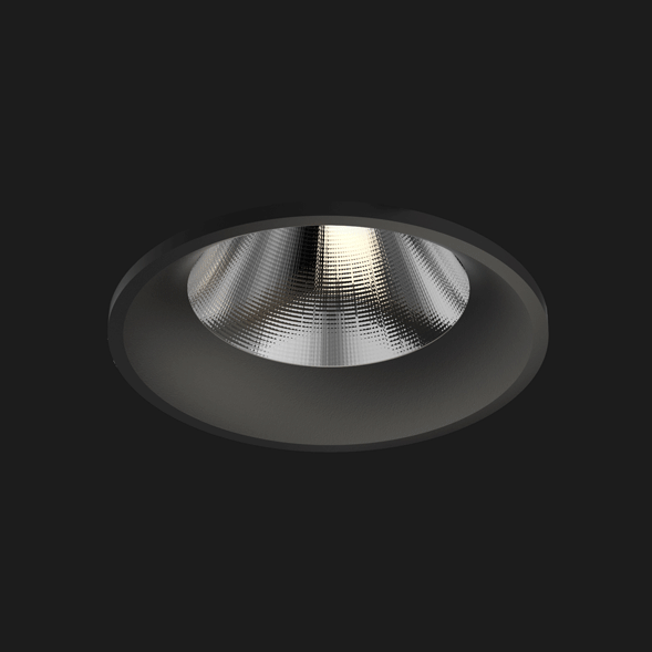 A black fix round led downlight with black background.
