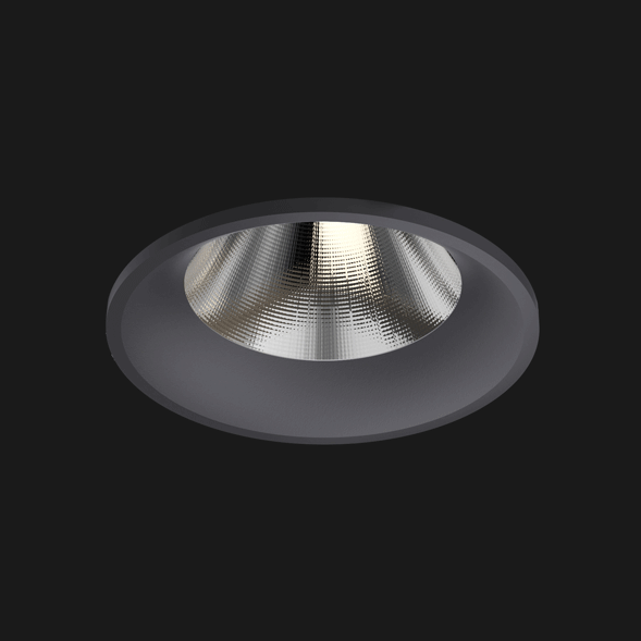 A anthracite fix round led downlight with black background.