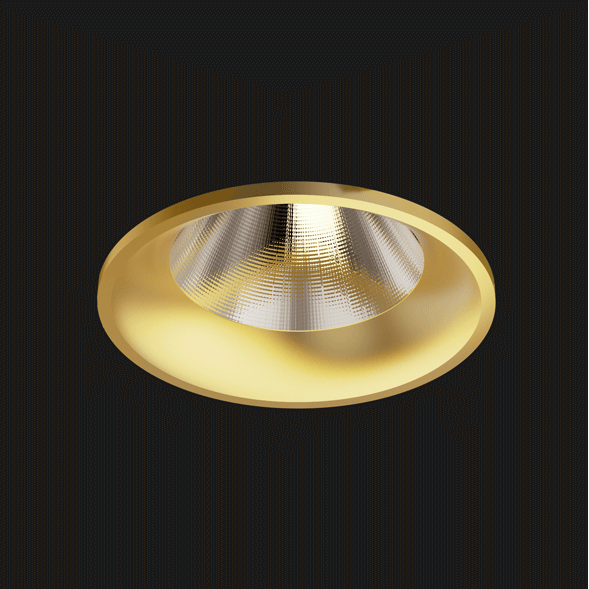 A gold fix round led downlight with black background.