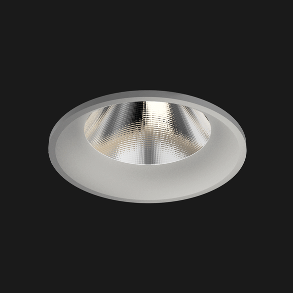 A grey fix round led downlight with black background.