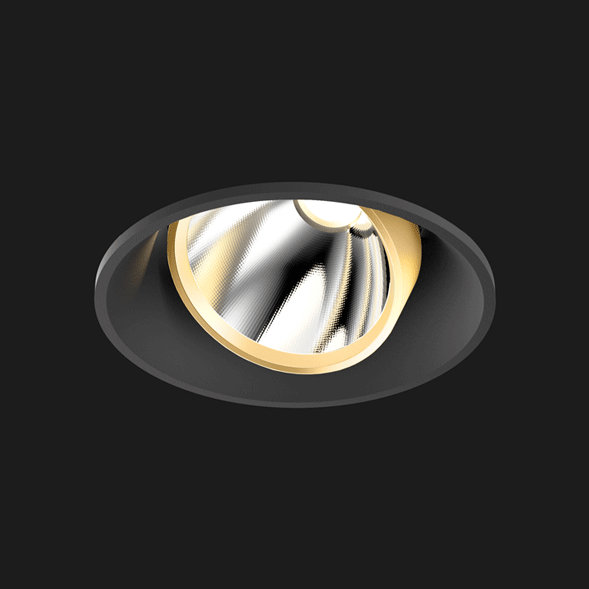 A black and gold mix round led downlight with black background