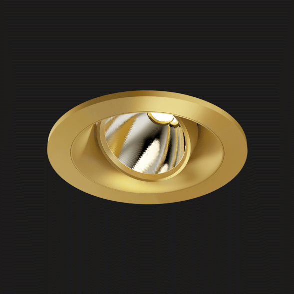 A gold round led downlight with black background