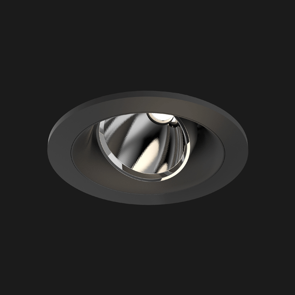 A black round led downlight with black background