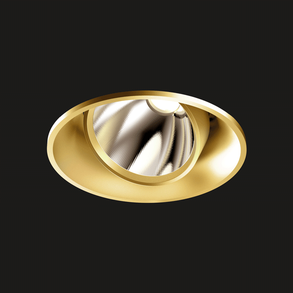 A gold mix round led downlight with black background