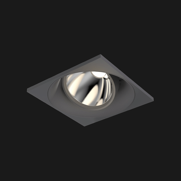 A anthracite and white square mix led downlight with black background
