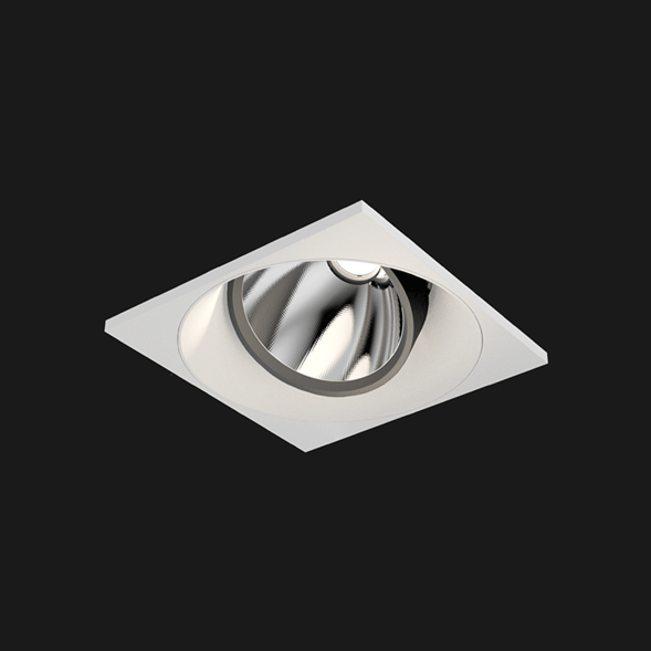 A black and white square mix led downlight with black background