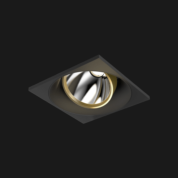 A black and gold square mix led downlight with black background