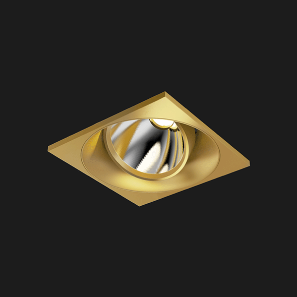A gold square mix led downlight with black background