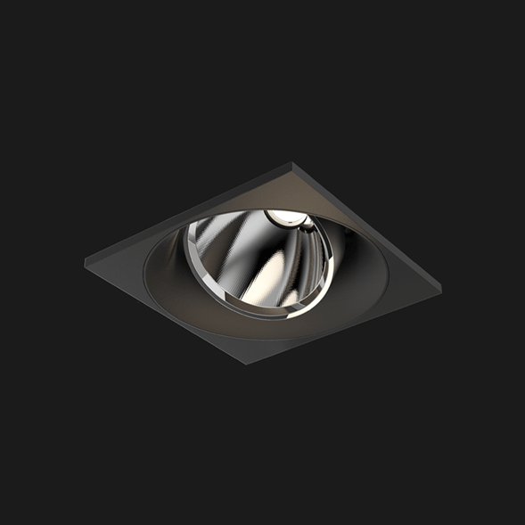 A black square mix led downlight with black background