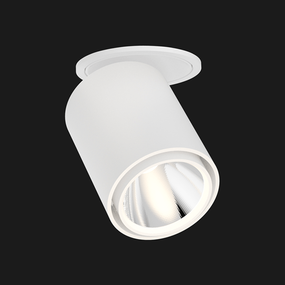 White semi recessed ceiling light on a black background