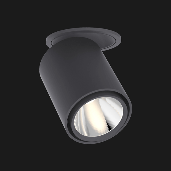 Anthracite semi recessed ceiling light on a black background