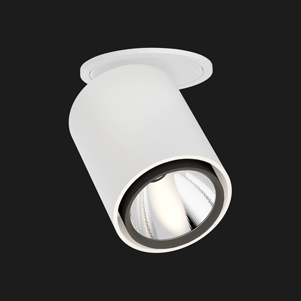Black and white semi recessed ceiling light on a black background