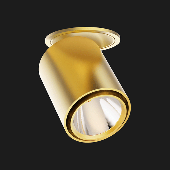 Gold semi recessed ceiling light on a black background