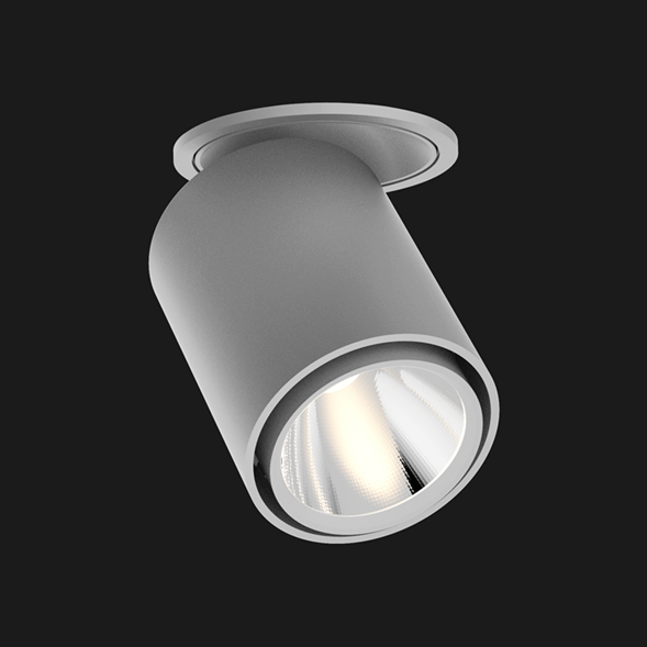 Grey semi recessed ceiling light on a black background
