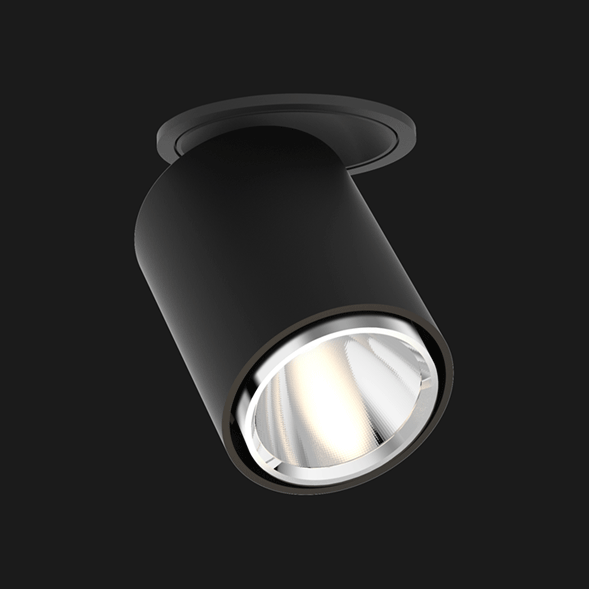 Black chrome semi recessed ceiling light on a black background