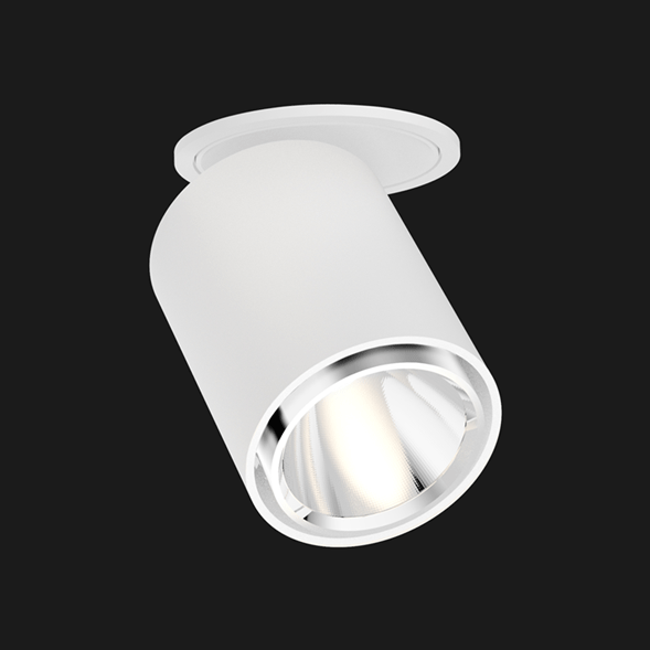 White chrome semi recessed ceiling light on a black background