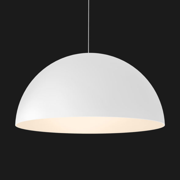 A white dome pendant light on a black background.
