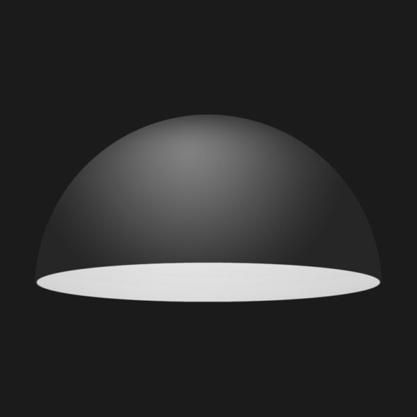 A black and white dome pendant light on a black background.