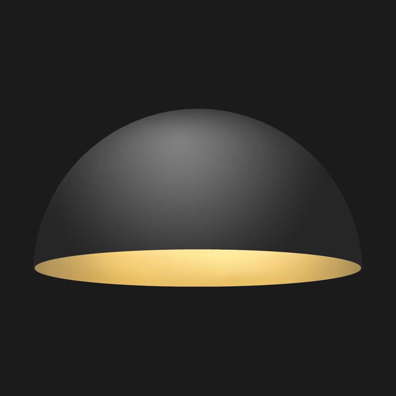 A black and gold dome pendant light on a black background.