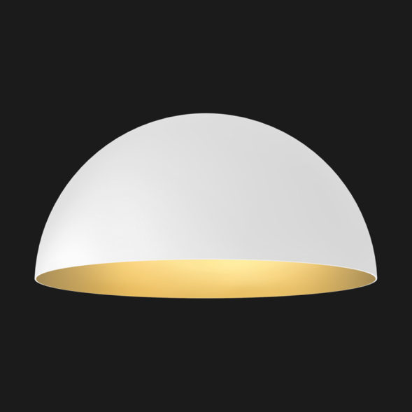 A white and gold dome pendant light on a black background.
